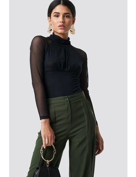 Mesh Sleeve Polo Top by Trendyol