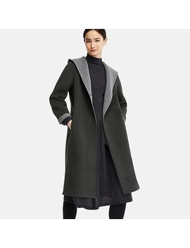 Women Dual Layer Wool Hooded Coat by Uniqlo