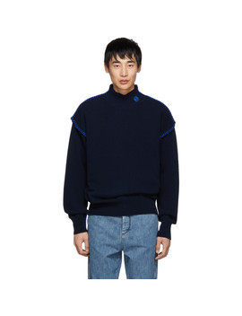 Navy Blanket Stitch Turtleneck by Loewe