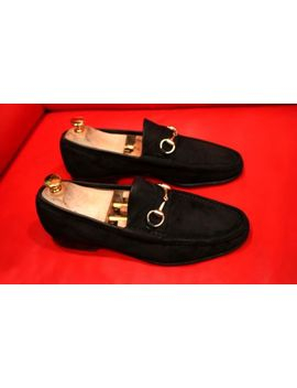 $699.00 !! Gucci Men Horse Bit Black Suede  Shoes Loafers Marked  Size 42 D by Gucci
