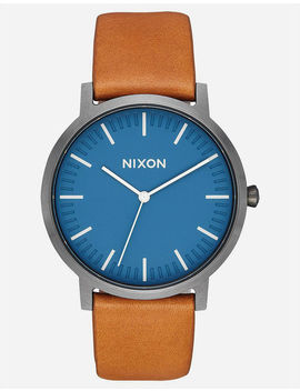 Nixon Porter Leather Navy & Gunmetal Watch by Nixon