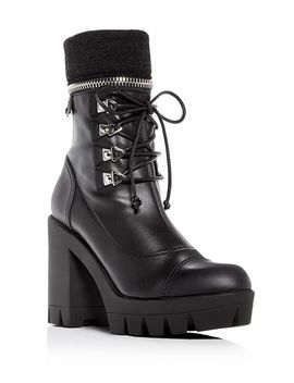 Women's Gintonic Leather Zip Top Block Heel Platform Combat Boots by Giuseppe Zanotti