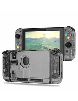 Basstop [Update Version] Diy Replacement Housing Shell Case Set For Switch Ns Nx Console And Right Left Switch Joy Con Controller Without Electronics (Set Smoke Black) by Basstop