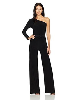 Norma Kamali Women's One Shoulder Jumpsuit With Mid Belt by Norma Kamali