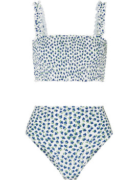 Holly And Chiara Shirred Floral Print Bikini by Faithfull The Brand