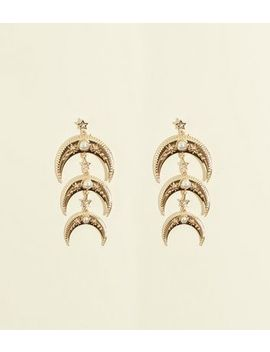 Re:Born Gold Drop Crescent Moon Earrings by New Look