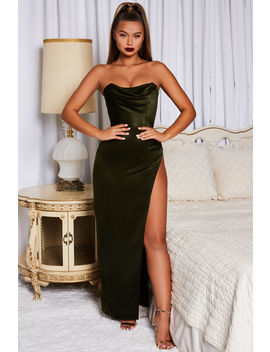Causing Drama Thigh Split Satin Maxi Dress In Green by Oh Polly