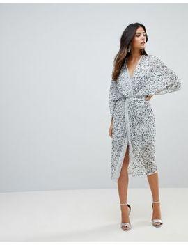 Asos Design   Robe Mi Longue Style Kimono Avec Nœud Sur Le Devant Et Sequins éparpillés by Asos Collection