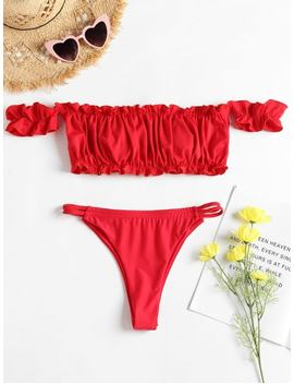Frilled Hem Off Shoulder Thong Bikini   Red S by Zaful