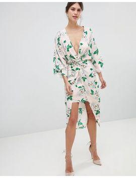 Asos Design   Robe Mi Longue Style Kimono En Satin Motif Floral by Asos Design