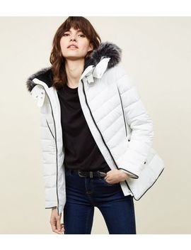White Faux Fur Trim Hooded Puffer Jacket by New Look