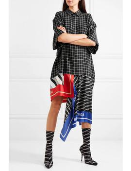 Asymmetric Patchwork Checked Poplin And Silk Twill Dress by Balenciaga