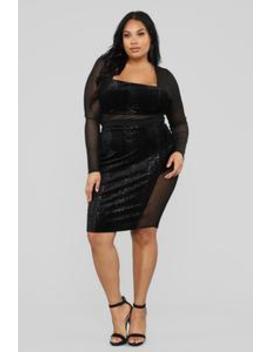 Revealed Secrets Velvet Mesh Set   Black by Fashion Nova