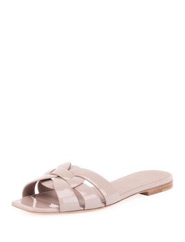 Tribute Patent Leather Flat Slide Sandals by Saint Laurent