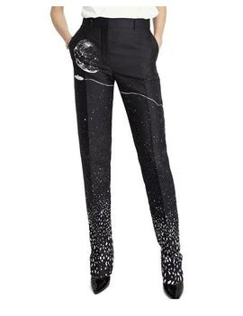 Silver Moon Print Straight Leg Pants by Schiaparelli