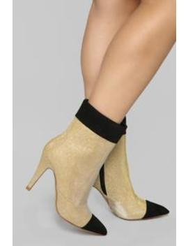 You're Kidding Right Bootie   Gold by Fashion Nova