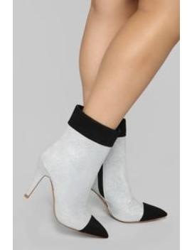 You're Kidding Right Bootie   Silver by Fashion Nova