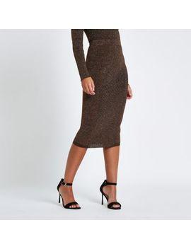 Brown Metallic Pencil Skirt by River Island