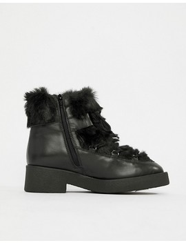 Aldo Chunky Faux Fur Leather Ankle Boots by Aldo