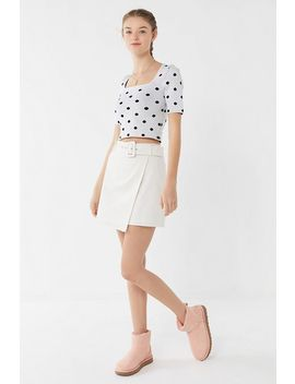 Uo Lily Linen Belted Asymmetrical Mini Skirt by Urban Outfitters