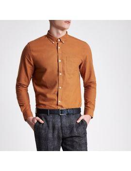 Rust Orange Long Sleeve Oxford Shirt by River Island