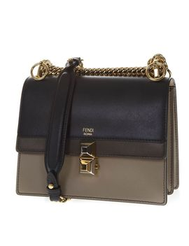 Fendi Kan I Taupe & Black Leather Shoulder Bag by Fendi