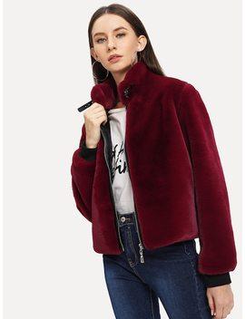 Zipper Up Front Faux Fur Jacket by Shein