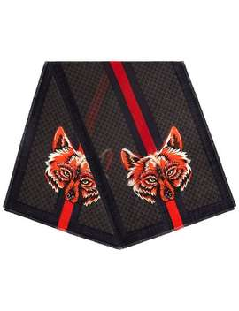 Gg Wool Stole With Wolf by Gucci
