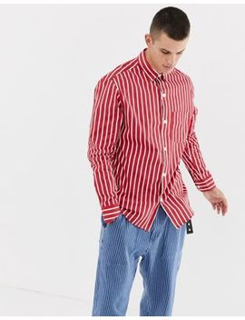 Noak Striped Shirt In Red With Long Sleeves by Noak