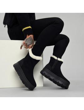 Crow Fur Trim Snow Boots by Koi Footwear