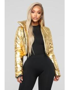 Going To The Moon Jacket   Gold by Fashion Nova