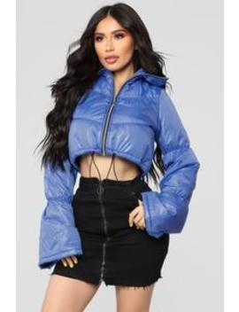 Sold Out Bell Sleeve Puffer Jacket   Royal by Fashion Nova