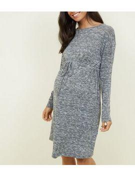 Maternity Grey Tie Waist Fine Knit Dress by New Look