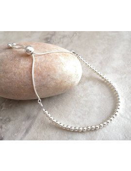 Silver Ball Slider Bracelet, Sterling Silver Bead And Chain Adjustable Jewellery For Ladies, Elegant Fashion Accessory by Etsy