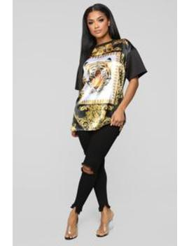 Tiger Tunic Top   Black/Gold by Fashion Nova