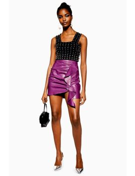 Ruched Leather Mini Skirt by Topshop