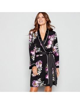 B By Ted Baker   Black Print Jersey 'sunlit Floral' Kimono Dressing Gown by B By Ted Baker