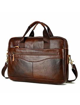 Mx Kingdom Waterproof 14 Inch Laptop Leather Briefcase Notebook Business Casual Retro Backpack Computer Bag Shoulder Bag Messenger Bag Men by Mx Kingdom