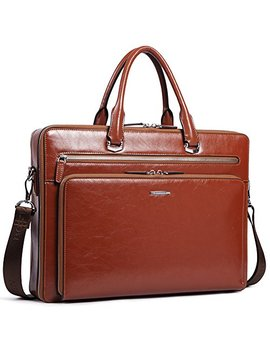 "Bostanten Leather Briefcase 15.6"" Laptop Business Vintage Slim Messenger Shoulder Bags For Men Brown by Bostanten"