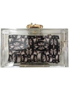 Racer Pandora Tire 3 Pouch Set Clear Perspex Clutch by Charlotte Olympia