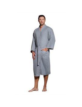 Turquaz Linen Lightweight Long Waffle Kimono Spa Robe For Men (Small/Medium, Black) by Turquaz Linen