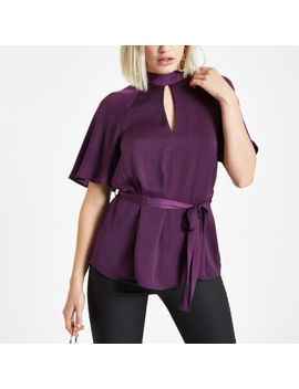 Purple Short Sleeve Tie Front Blouse by River Island