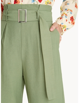 High Rise Belted Pants   Green by Pomelo