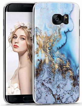 Galaxy S7 Case, Imikoko S7 Marble Case Slim Anti Scratch Shockproof Cover Matte Finish Flexible Clear Transparent Tpu Bumper Soft Case For Samsung Galaxy S7 (5.1 Inch)  Gold Blue by Imikoko