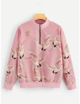 Crane Print Quarter Zip Sweatshirt by Sheinside