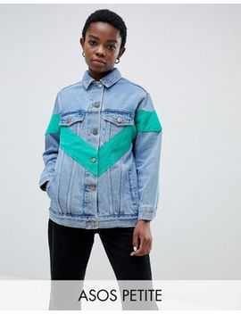 Asos Design Petite Denim Jacket With Chevron Color Block by Asos Design