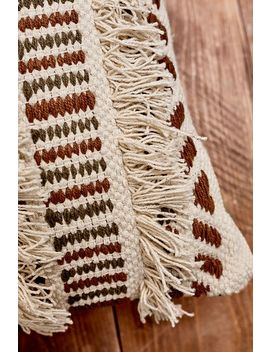 Woven Cream Fringe Throw Cushion by Urban Outfitters