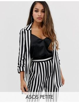 Asos Design Petite Relaxed Suit Blazer In Bold Mono Stripe by Asos Design