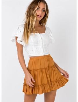 Meraki Mini Skirt Mustard by Princess Polly