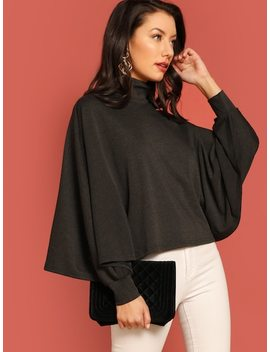 High Neck Solid Tee by Shein